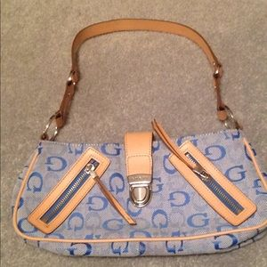 Guess blue over-the-shoulder handbag